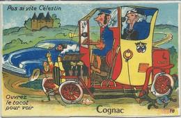 """Cognac-Carte à Système-""""Pas Si Vite Célestin"""" """"Ouvrez Le Tacot Pour Voir""""-Multi-vues (Toutes Scannées) - Cognac"""