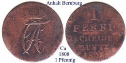 DL-1808, 1 Pfennig,  Anhalt-Bernburg - Piccole Monete & Altre Suddivisioni