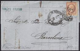 """1865. MARSELLA A BARCELONA. CARTA POR CORREO MARÍTIMO. PORTEO """"2"""" EN NEGRO Y MARCA """"ADMON DE CAMBIO"""". - Otros"""