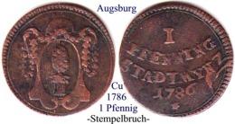 DL-1786, 1 Pfennig,  Augsburg - Piccole Monete & Altre Suddivisioni