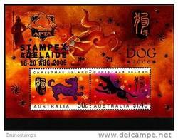 AUSTRALIA-CHRISTMAS ISLANDS-2006 YEAR OF THE DOG MS OVPT APTA STAMPEX MINT NH - Christmas Island