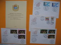 """Lot De Document Primer Dias De Emision Venézuela - Caracas """" Cortésia Del Banco Del Caraibe 1962/1963 - Venezuela"""