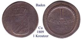DL-1809, 1 Kreuzer , Baden - Piccole Monete & Altre Suddivisioni