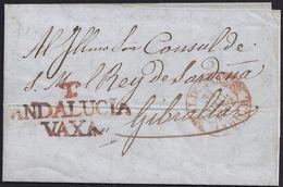 1852. ALGECIRAS A GIBRALTAR. CARTA SIN SELLOS. INTERESANTE Y RARA ENVUELTA PESE A DOBLEZ DE ARCHIVO. - Gibraltar