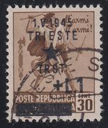 Occupazione Jugoslava: TRIESTE - Monumenti Distrutti Lire 1 Su 30 C. Bruno - 1945 - Occup. Iugoslava: Trieste