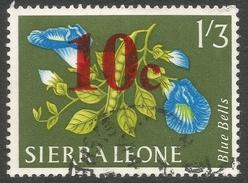 Sierra Leone. 1964-66 Decimal Currency Surcharges. 10c On 1/3 Used. SG 318 - Sierra Leone (1961-...)