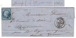 1863 - CACHET De BOITE RURALE LOCALISÉE (JUVIGNÉ?) LETTRE LAC CAD BRISSAC (MAINE Et LOIRE) Pr BOULOGNE SUR GESSE GC 646 - Marcofilia (sobres)