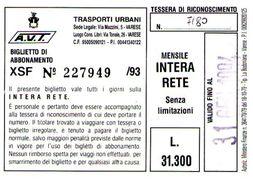B 1579 -  Varese Trasporti Urbani Biglietto Di Abbonamento AVT Mensile - Europa