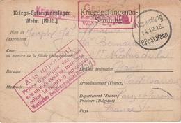 WW1 - Carte Postale D Un Prisonnier De Guerre Du Camp De WAHN- L 2210 - 1. Weltkrieg 1914-1918