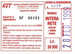 B 1580 -  Varese Trasporti Urbani Biglietto Di Abbonamento AVT Mensile - Europa
