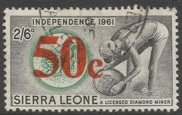 Sierra Leone. 1964-66 Decimal Currency Surcharges. 50c On 2/6 Used. SG 321 - Sierra Leone (1961-...)