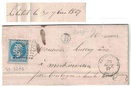 1867 - CACHET De BOITE RURALE LOCALISÉE (LABATUT) LETTRE LAC CAD MAUBOURGUET (PYRENÉES) Pour BOULOGNE GC 2273 - 1849-1876: Période Classique