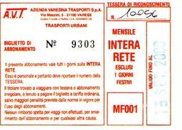 B 1581 -  Varese Trasporti Urbani Biglietto Di Abbonamento AVT Mensile - Europa