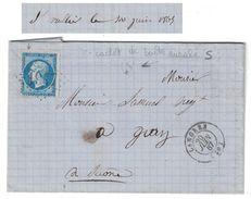 1867 - CACHET De BOITE RURALE LOCALISÉE (ST VALLIER) Sur LETTRE LAC CAD LANGRES (HAUTE MARNE) Pour GRAY GC 1947 - Marcofilie (Brieven)