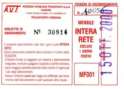 B 1582 -  Varese Trasporti Urbani Biglietto Di Abbonamento AVT Mensile - Europa