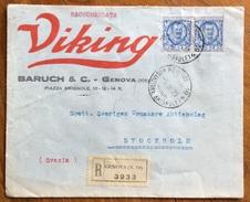 FLOREALE L.1,25 COPPIA  SU BUSTA PUBBLICITARIA LAMETTE DA BARBA VIKING  DA GENOVA A STOCCOLMA IL 9/9/29 CON ERINNOFILO - Storia Postale