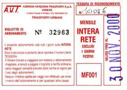 B 1583 -  Varese Trasporti Urbani Biglietto Di Abbonamento AVT Mensile - Europa