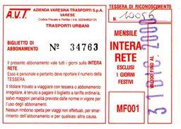B 1584 -  Varese Trasporti Urbani Biglietto Di Abbonamento AVT Mensile - Season Ticket
