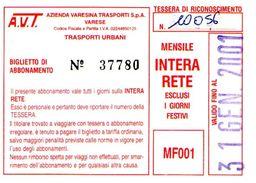 B 1585 -  Varese Trasporti Urbani Biglietto Di Abbonamento AVT Mensile - Europa