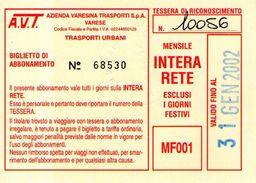 B 1586 -  Varese Trasporti Urbani Biglietto Di Abbonamento AVT Mensile - Europa