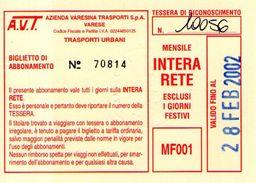 B 1587 -  Varese Trasporti Urbani Biglietto Di Abbonamento AVT Mensile - Europa