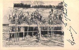 Indigènes Bakele Construisant Une Toiture (top Animation, 1904) - Gabon
