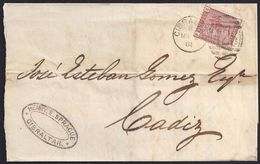 "1881. GIBRALTAR A CADIZ. 1 PENNY CASTAÑO. MAT. ""A26"" Y FECHADOR EN EL FRENTE. INTERESANTE Y RARA ENVUELTA. - Gibraltar"