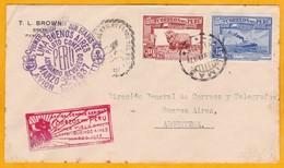 1937 - Enveloppe PAR AVION De Lima, Pérou Vers Buenos Aires Par 1er Vol Direct - Peru