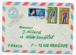 Roumanie--1981--Lettre De CLUJ-NAPOCA  Pour ASNIERES-92 (France)--Composition De Timbres (soldats-échecs)--cachets - Cartas