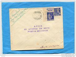 """MARCOPHILIE- Lettre -afft 90c PaixN°368-Coin De Carnet Bande Pub """"Petrole HAHN""""cad PARIS XVII-1941- - Advertising"""