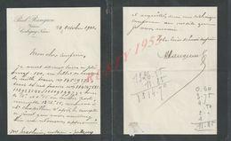 LETTRE DE 1910 DE PAUL RANGEON NOTAIRE À CORBIGNY : - Manuscripts