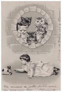 CHAT . ENFANT . LAPIN . Carte Gaufrée - Réf. N°4334 - - Chats