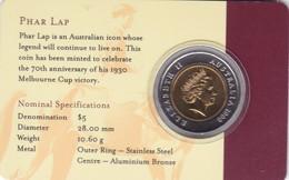 "AUSTRALIA 5 DOLLARS 2000 UNC COIN CARD ""PHAR LAP 1930-2000"" (free Shipping Via Registered Air Mail) - Decimal Coinage (1966-...)"