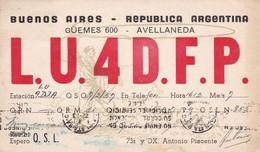 LU4DFP AVELLANEDA, BUENOS AIRES, ARGENTINA - 1957 - QSL CARD - RADIOAFICIONADOS/RADIO HAM -  BLEUP - Radio Amateur