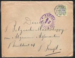NEDERLAND WO-I NVPH 69 Op Enveloppe Arnhem 1915 Via Censuur Aken (D) Naar Brussel (B) - Covers & Documents