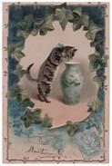 Chat Humanisée . Carte Gaufrée - Réf. N°4336 - - Katzen