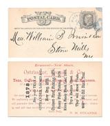 UX5 Postal Card 1878 Blue Watertown NY Fancy Cancel Advert Ostrander Loomis Co Teas - Postal History
