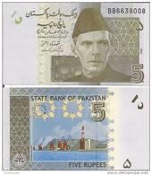 Pakistan P-53, 5 Rupee, Mohammed Ali Jinnah / Gwadar Sea Port, 2008 - Pakistan