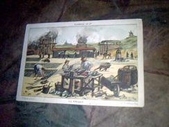 Vieux Papier Chromo  Hachette  Image Scolaire Theme Vieilles Industries Fabrication  Manuelle Des Briques - Chromos