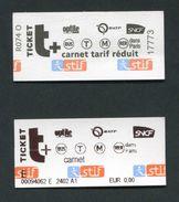 Lot De 2 Tickets De Metro, Bus, RER, Tramway - Paris - Carnet - Billet RATP - Transportation Ticket - Métro