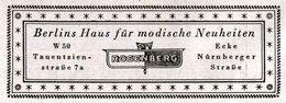 Original-Werbung/ Anzeige 1941 - BERLINS HAUS FÜR MODISCHE NEUHEITEN ROSENBERG - Ca. 80 X 30 Mm - Werbung