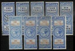 ANTIGUA, Revenues, B&H 1-9, * MLH, F/VF, Cat. £ 70 - 1858-1960 Crown Colony