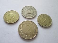 YUGOSLAVIA  4 X 2 DINARA, 1973, 1983, 1985, 1991 - Jugoslavia
