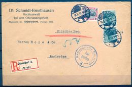 1915 , ALEMANIA , SOBRE COMERCIAL CERTIFICADO ENTRE DÜSSELDORF Y AMSTERDAM , IMPRESOS - Cartas