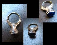 Très Jolie Bague Du Pakistan / Very Great Silver And Lapis Ring From Pakistan - Oriental Art