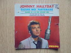 Ancienne Pochette Disque 45 T JOHNNY HALLYDAY Excuse Moi Partenaire 4 Titres - Accessoires, Pochettes & Cartons