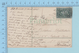 IIIe Centenaire De Quebec, 2 X Timbre #97 Cartier Et Champlain, Un Sur Chaque Bord De La Carte - Lettres & Documents