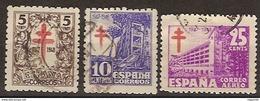 España U 1017/1019 (o) Tuberculosos 1947 - 1931-50 Usati