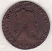 Spain , 8 Maravedis 1842 Aqueduct, Isabel II,  KM# 531.3 - Premières Frappes