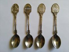 4  CUILLERES  PETITES  De Collection   De  CAPITALES  DIVERSES - Cuillères